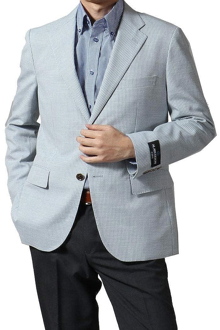 ALAIN DELON アランドロン メンズ ジャケット 春夏 サマージャケット 麻 ウール 麻混 ウール混 サマーウール ウールブレンド リネン ビジネス ゴルフ クールビズ 219302 219303 219304 BB体5号(M) 【C】ライトブルー B07PYV61SZ