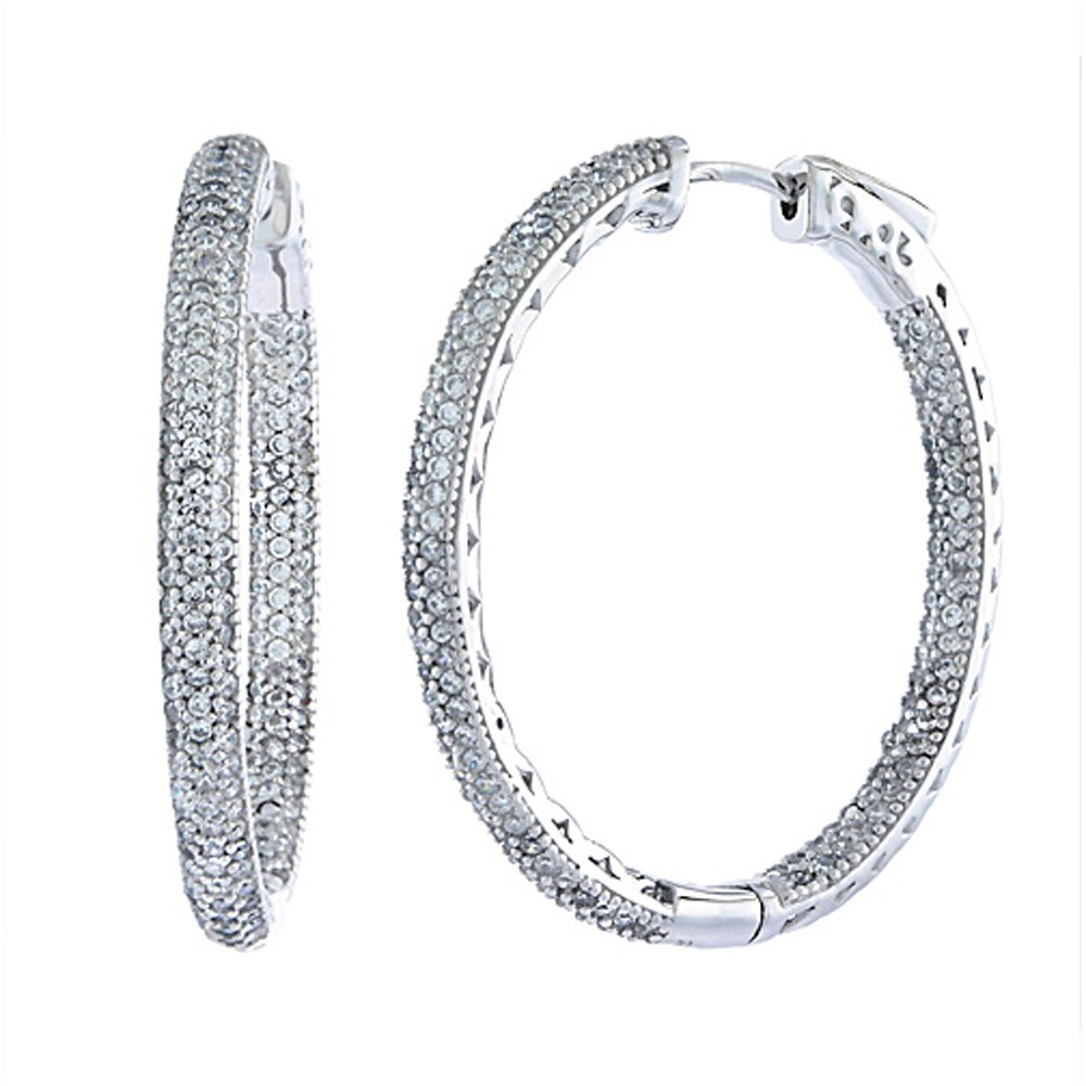 Sterling Silver Micro Pave CZ Inside-Out Hoop Earrings Oval Rhodium Finish