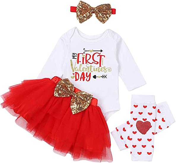 Tutu Skirt Headband with Leg Warmers 4Pcs Clothes Set My First Valentines Day Outfit Baby Girl Cute Print Romper