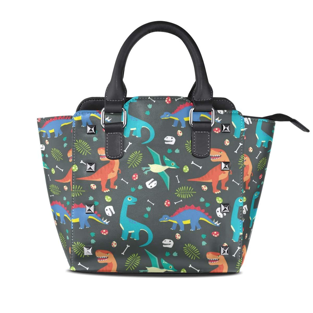 Design4 Handbag Black Leopard Genuine Leather Tote Rivet Bag Shoulder Strap Top Handle Women