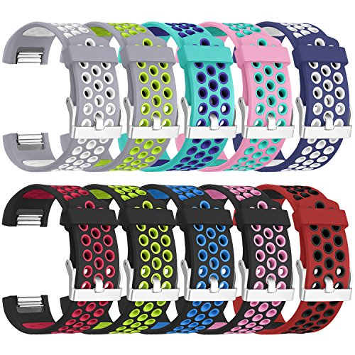 SKYLET for Fitbit Charge 2 Bands, Soft Breathable Replacement Bands for Fitbit Charge 2 Bracelet with Secure Watch Clasp (No Tracker)[Small, 10 Pack]