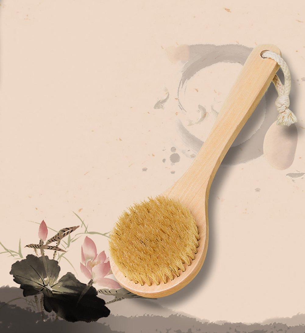 Zinnor Natural Boar Bristle Long Handle Wooden Bath Shower Body Back Brush Massager Spa Scrubber Skin Body Brush Exfoliating for Dry Brushing Shower Wood Handle (Wood Handle)