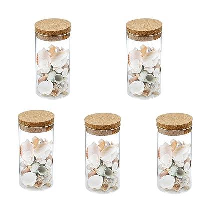 MagiDeal 5pcs Mini Botellas de Vidrio de Corcho Almacenaje de Azúcar Té Caramelos Decoración de Cocina