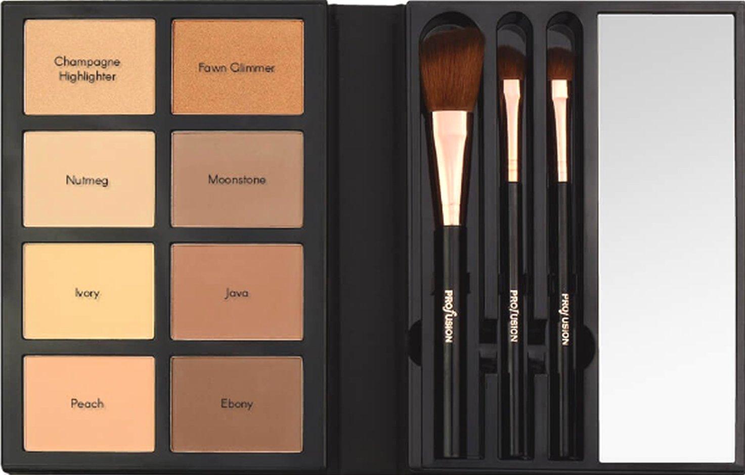 profusion face make up palette eyeshadow blush highlighter eyeliner brushes beauty. Black Bedroom Furniture Sets. Home Design Ideas