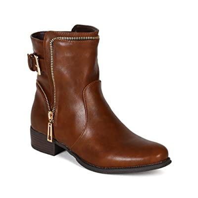 Wild Rose Women Leatherette Zipper Decor Riding Ankle Bootie BE73 | Ankle & Bootie