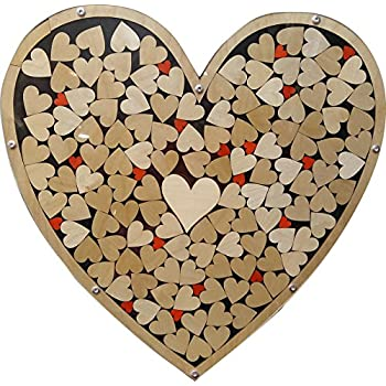 Amazon Com Heart Drop Alternative Wedding Guest Book Wood