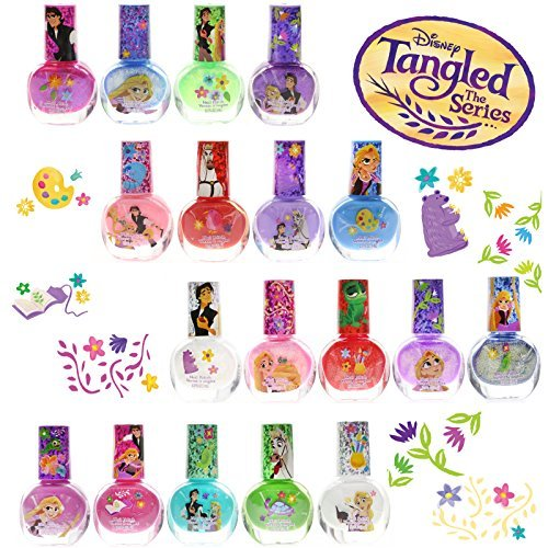 TownleyGirl Disney Tangled Super Sparkly Peel-Off Nail Polish Deluxe Gift Set for Girls, 18 CT