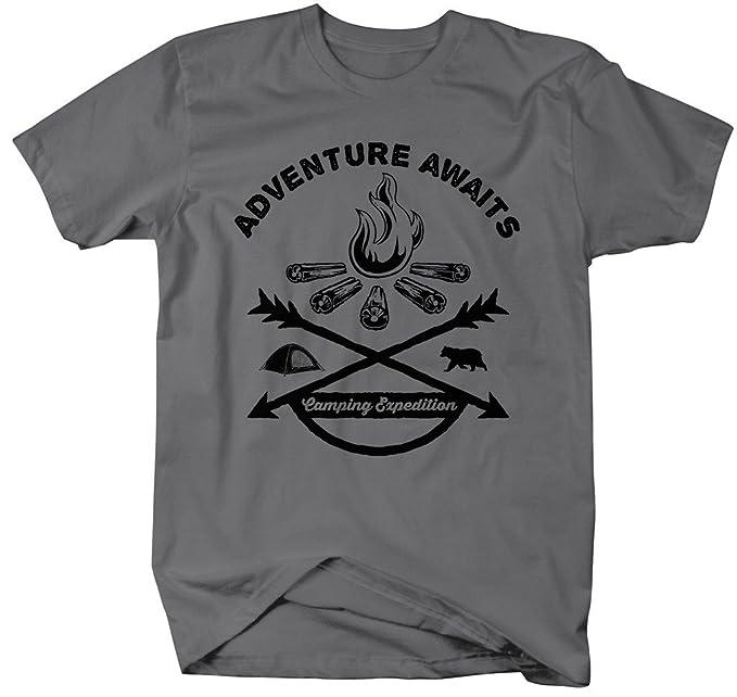 f5ec69288 Shirts By Sarah Men's Adventure Awaits Camping T-Shirt Bonfire Expedition  Shirts (Charcoal Small