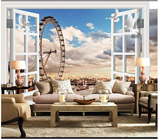Amazon Com Pbldb 3d Murals Wallpaper Custom 3d Photo Wallpaper Seaside Window Fantasy European Ferris Wheel 3d Stereo Tv Background Wall Decor 120x100cm Kitchen Dining
