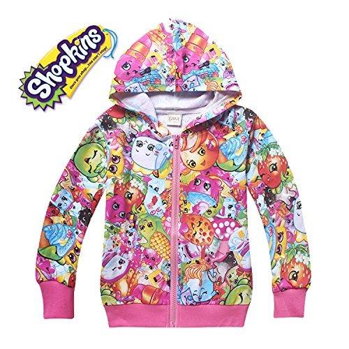 Shopkins Long Sleeve Front Zip Hoodie Jacket Coat (9-10 sz 140, Multi-Color)