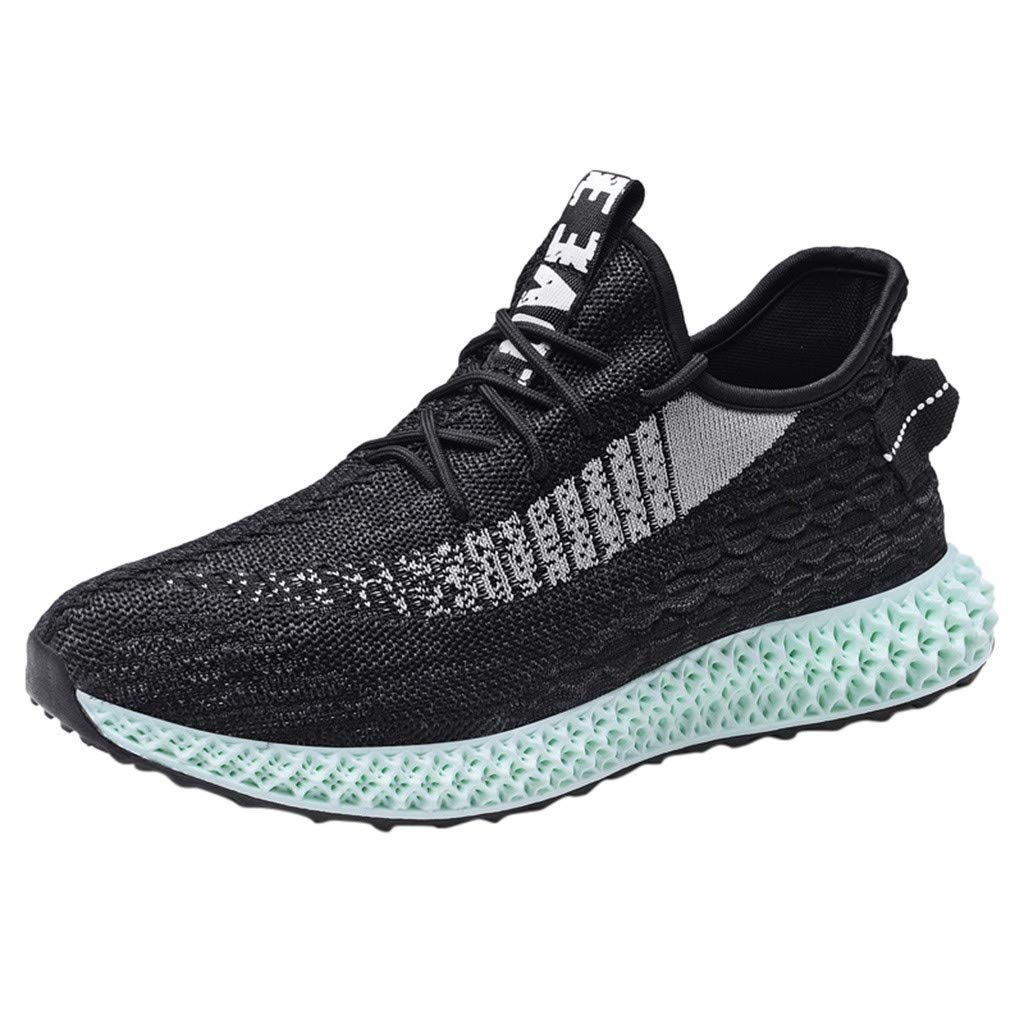 ★QueenBB★ Men's Tennis Shoes Slip On Knit Breathe Mesh Walking Running Gym Sneakers Gym Fitness Black