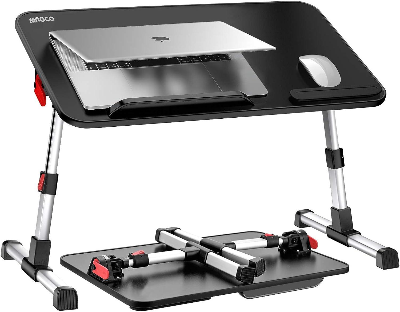 MROCO LaptopBedTrayTable,AdjustableLaptopStand,Portable LapDeskforBedwithFoldableLegs,SuitbaleforLaptopUnder14inches,BedDeskforLaptopReadingandWritinginSofaandCouch,Black