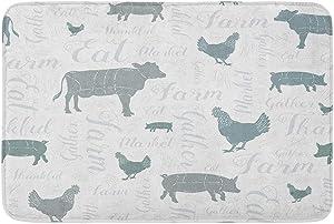 "Adowyee 20""x30"" Bath Mat Modern Farmhouse Cow Chicken and Pig Pattern in Blue Cozy Bathroom Decor Bath Rug with Non Slip Backing"