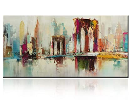 100 Hand Painted 3d Paintings On Canvas New York City Palette Knife Art Brooklyn Bridge Oil Painting Picture Wall Art Modern Giclee Artwork Home