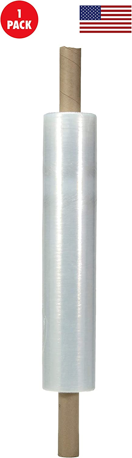Plastic Film Shrink Wrap 20 Inches X 1000 Feet Roll 1-Pack Heavy Duty Stretch Industrial with Handles Made in USA Thick 80 Gauge for Moving Furniture Pallet Box Wrapping Clear