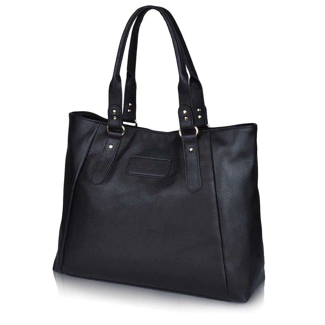 ZMSnow Women's PU Leather Handbags Lightweight Tote Casual Work Bag, 3-black