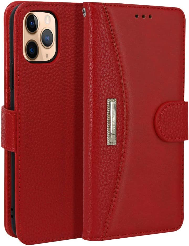 """Leather Wallet Phone Case for iPhone XR, IDOOLS Folding Flip Cases Protective Cover Strong Magnetic Closure with Card Slots Kickstand –(Red 6.1"""")"""