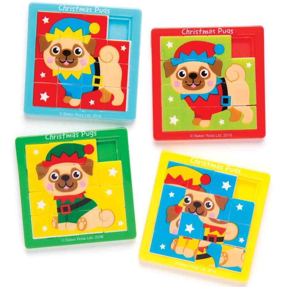 Baker Ross Jeux de Pousse-Pousse carlins de Noël (Lot de 4), Petits Cadeaux Amusants et festifs à Glisser dans Les Pochettes-Surprises ou Les Chaussettes de Noël des Enfants