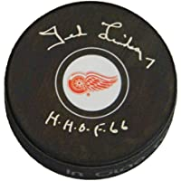 $99 » Ted Lindsay Signed Detroit Red Wings Logo Hockey Puck w/HHOF'66 - Schwartz Authentic