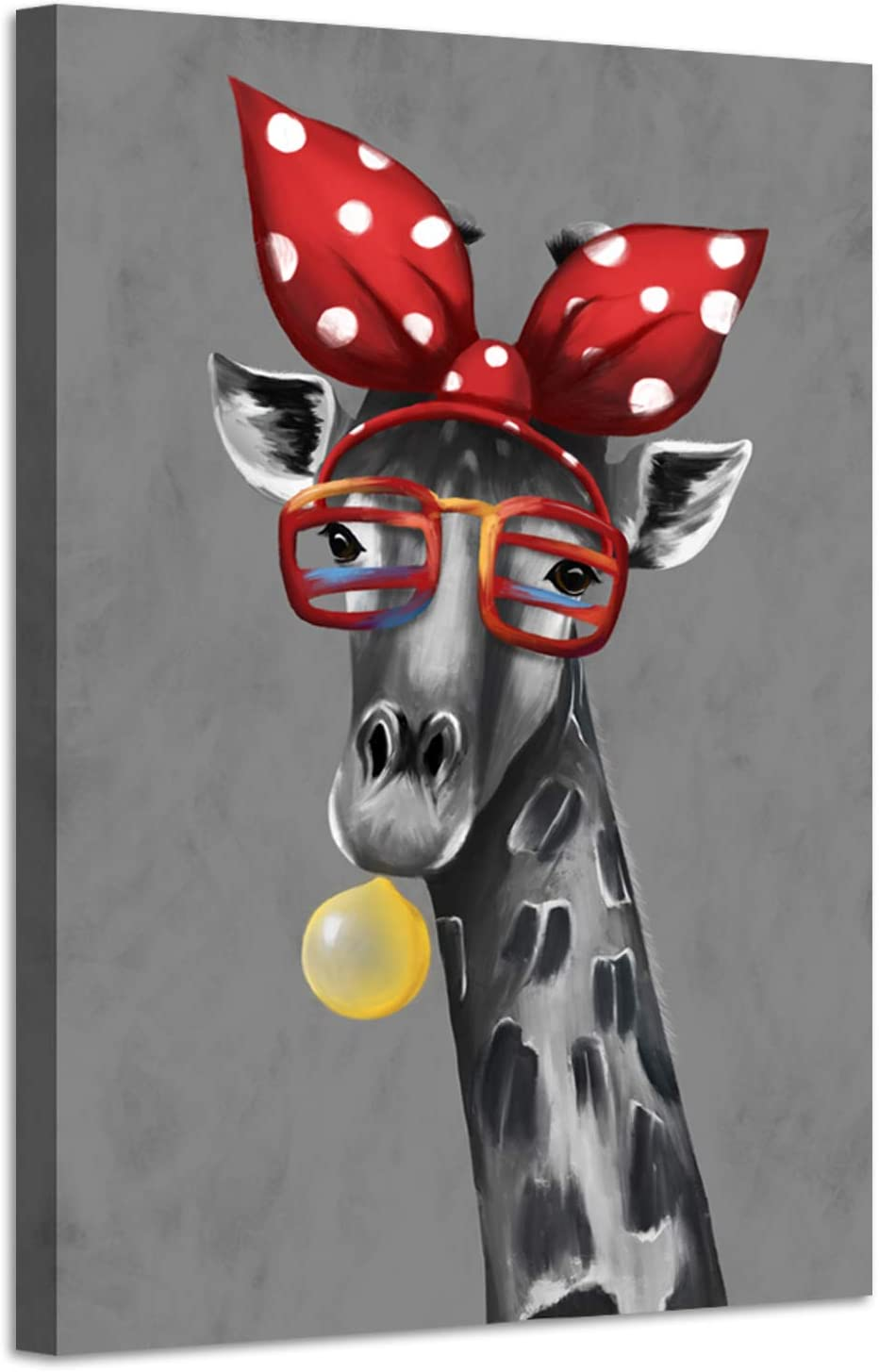 sechars - Modern Animal Art Funny Giraffe Bubble Gum Art Painting Abstract Canvas Art Stretched Frame Artwork for Wall Decor Kids Room Decor 24x36inch