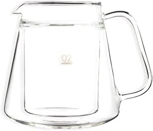 Hario V60 Double Wall Glass Coffee Server, Size 02, 500ml, Clear