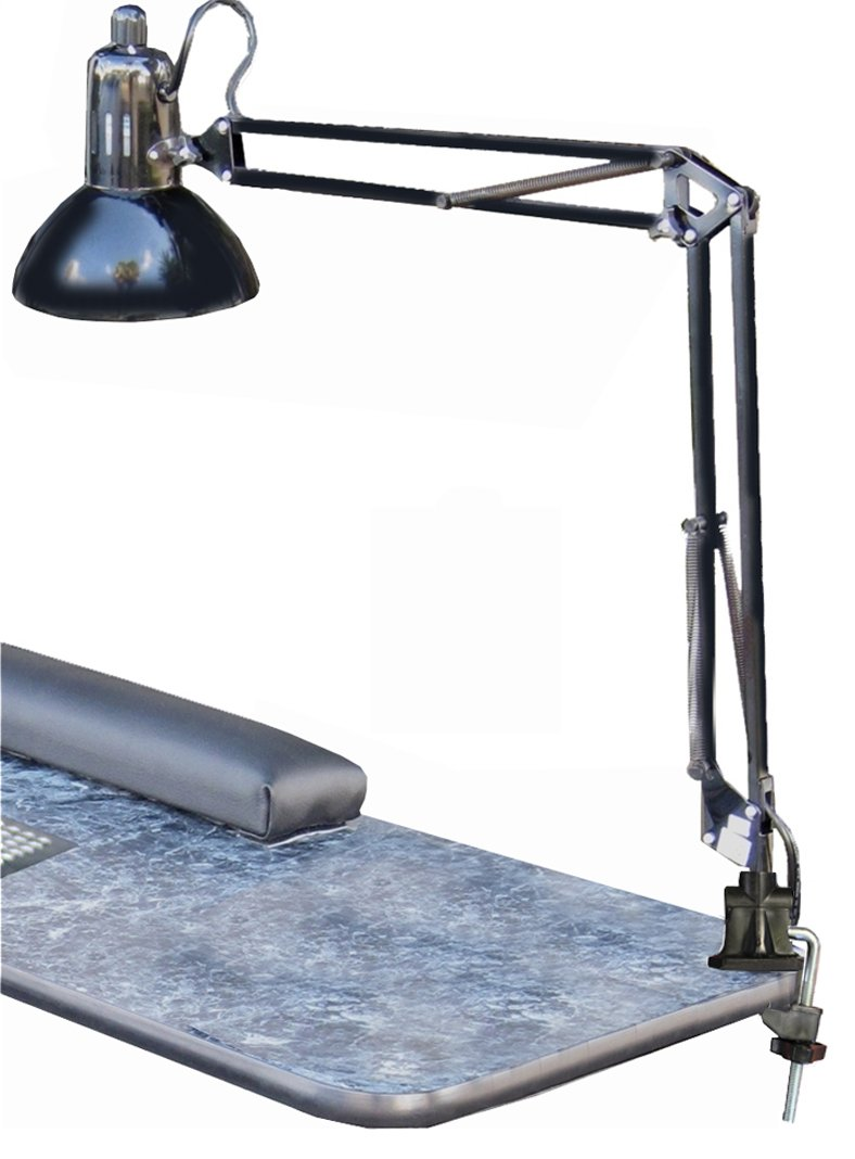 325 MANICURE NAIL TABLE SWING ARM LAMP BLACK w/Clamp by Dina Meri