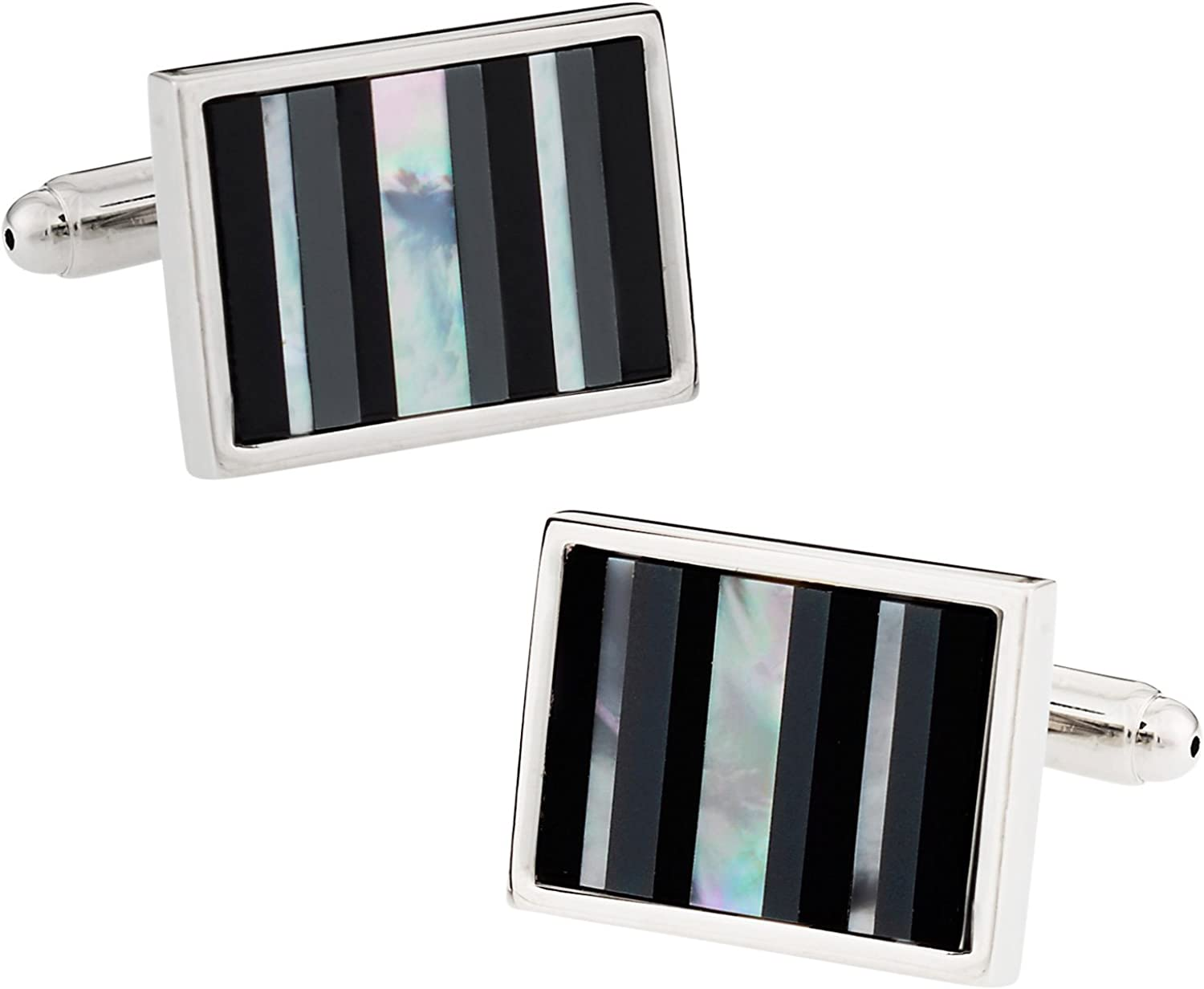 Cuff-Daddy Onyx, Hematite, and Mother of Pearl Silver Cufflinks with Presentation Box
