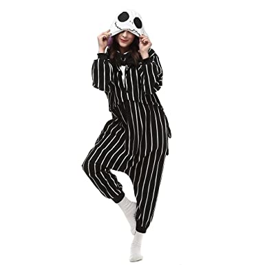 HKSNG Jack Skellington Skull Adults Animal Footed Pajamas Kigurumi Onesies Cosplay Costumes (S(150