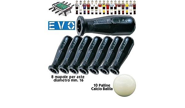 EVO 8 mandos de polipropileno negro de subastas de futbolín mm.16, con pantalla táctil de bolas.: Amazon.es: Deportes y aire libre