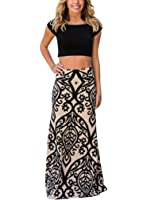 FIYOTE Women Boho Print High Waisted Beach Long Maxi Skirts ( 8 Colors for Choice)