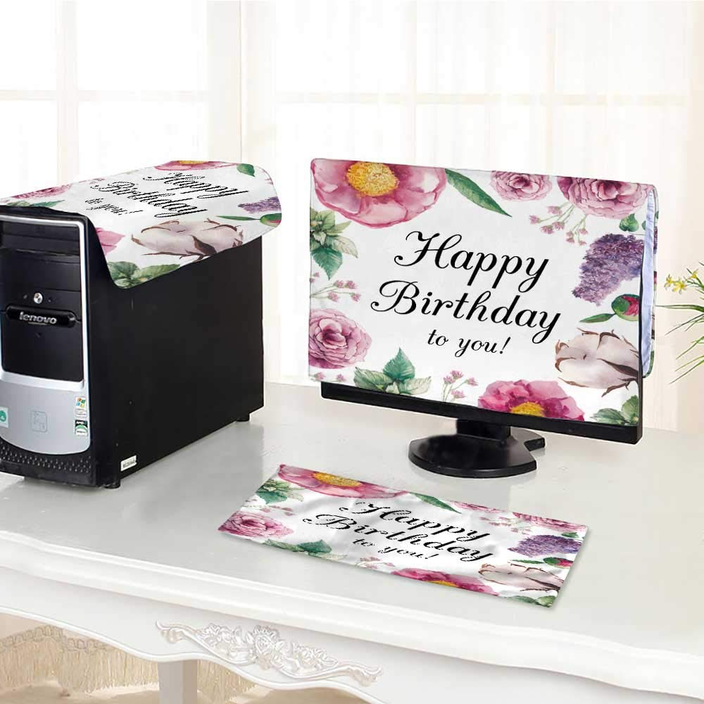 """UHOO2018 Keyboard dust Cover Computer 3 Pieces Garden Birthday Card Drawn Vintage Collage Frame with Roses Lilac Computer dust Cover /26"""""""