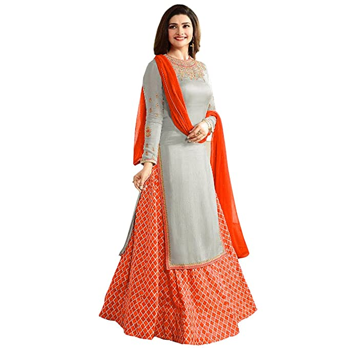 a257f5c91 Softieons Ecommerce Women Special Party Wear Orange Color Japan Crepe  Lehenga Pattern Embroidery Work Semi Stitched