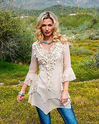 Scully Women's Lace and Ruffle Blouse Natural Medium