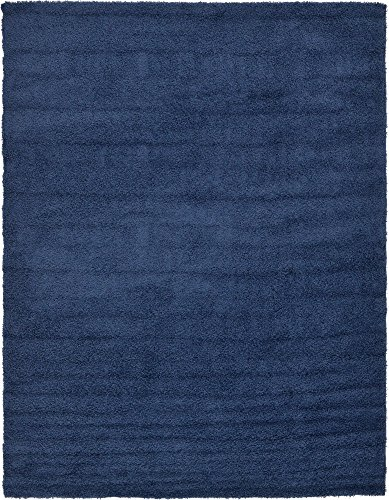 Unique Loom Solo Solid Shag Collection Modern Plush Navy Blue Area Rug (9' 0 x 12' 0) (9x12 Area Teal Rug)