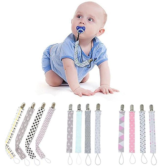 Amazon.com: 4pcs chupete bebé clip chupete cadena clip ...