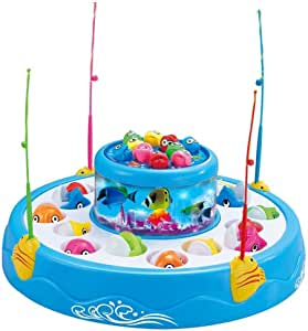 StillCool Fishing Game Toy Set with Double-Layer Rotating Board Includes 26 Fish and 4 Fishing Poles, Safe and Durable Gift for Toddlers and Kids