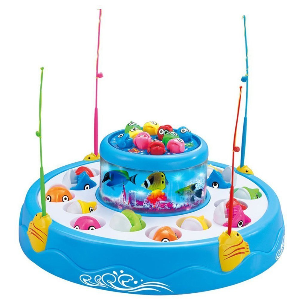 StillCool Fishing Game Double Fish Pool & 26 Fishes Magnetic Rotating Light Music Christmas Toy Gifts (Blue - Fishing Game)
