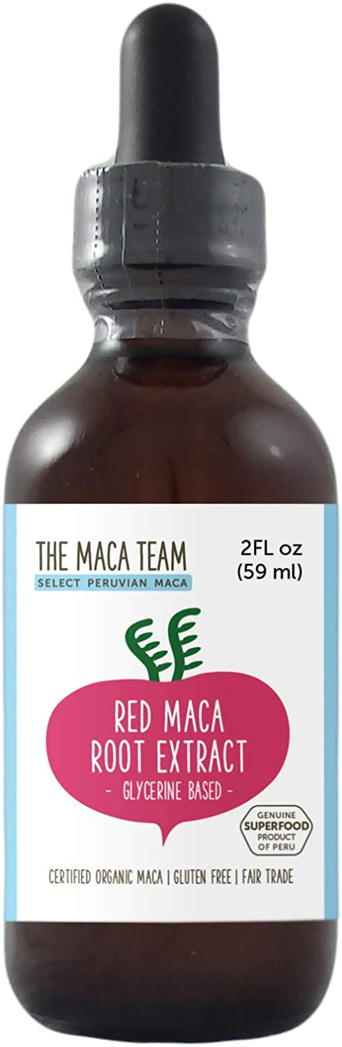 The Maca Team Red Maca Root Liquid Extract, Glycerin Based – Organic, Vegan, GMO-Free and Alcohol-Free, 2 Fl Oz, 59 ml