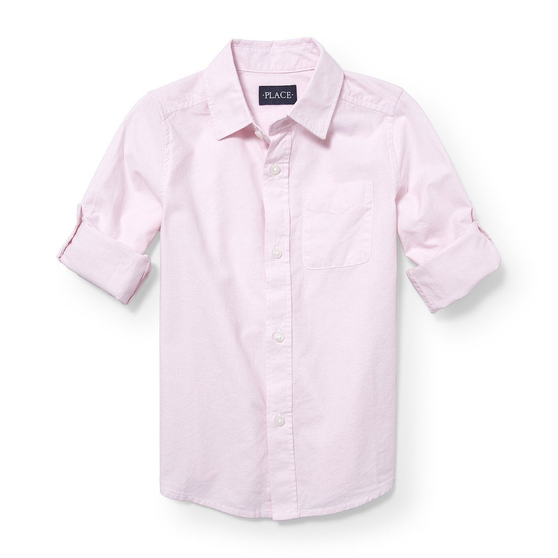 The Children's Place Big Boys' Roll Tab Woven Button Down Shirt