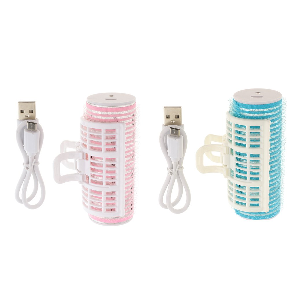 Dovewill Set of 2 USB Plastic DIY Clip Roller Heat Hair Curlers Curls Bangs Salon Clamps for Women Girls Hairstyling Design
