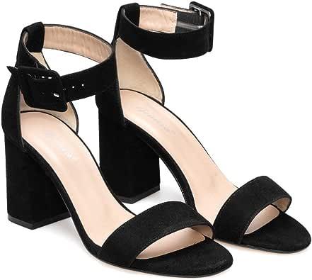 Frida - Sandalias Tobilleras de Vestir para Mujer en Piel - Altura Tacon Alto Ancho 8 cm - Cierre con Hebilla al Tobillo - Moda Tendencia Elegantes Fiesta -: Amazon.es: Zapatos y complementos