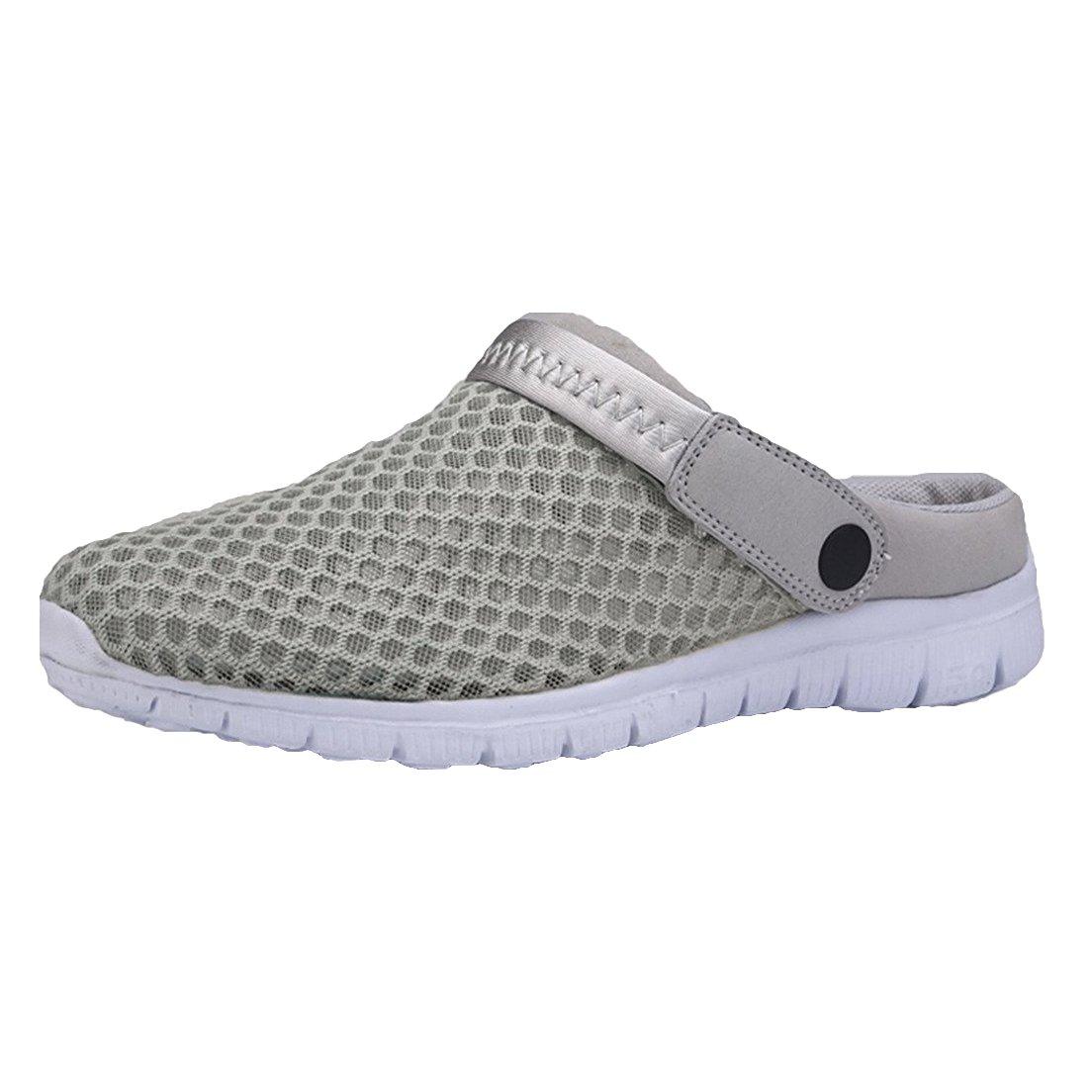 Hibote Unisex-Erwachsene Breathable Mesh Hausschuhe Sandalen Pantoletten Schuhe Pantoletten Schuhe Sommer r Loch Sandalen/zu Fuszlig;/Anti-Slip Beach Sandalen  44 EU|Grau