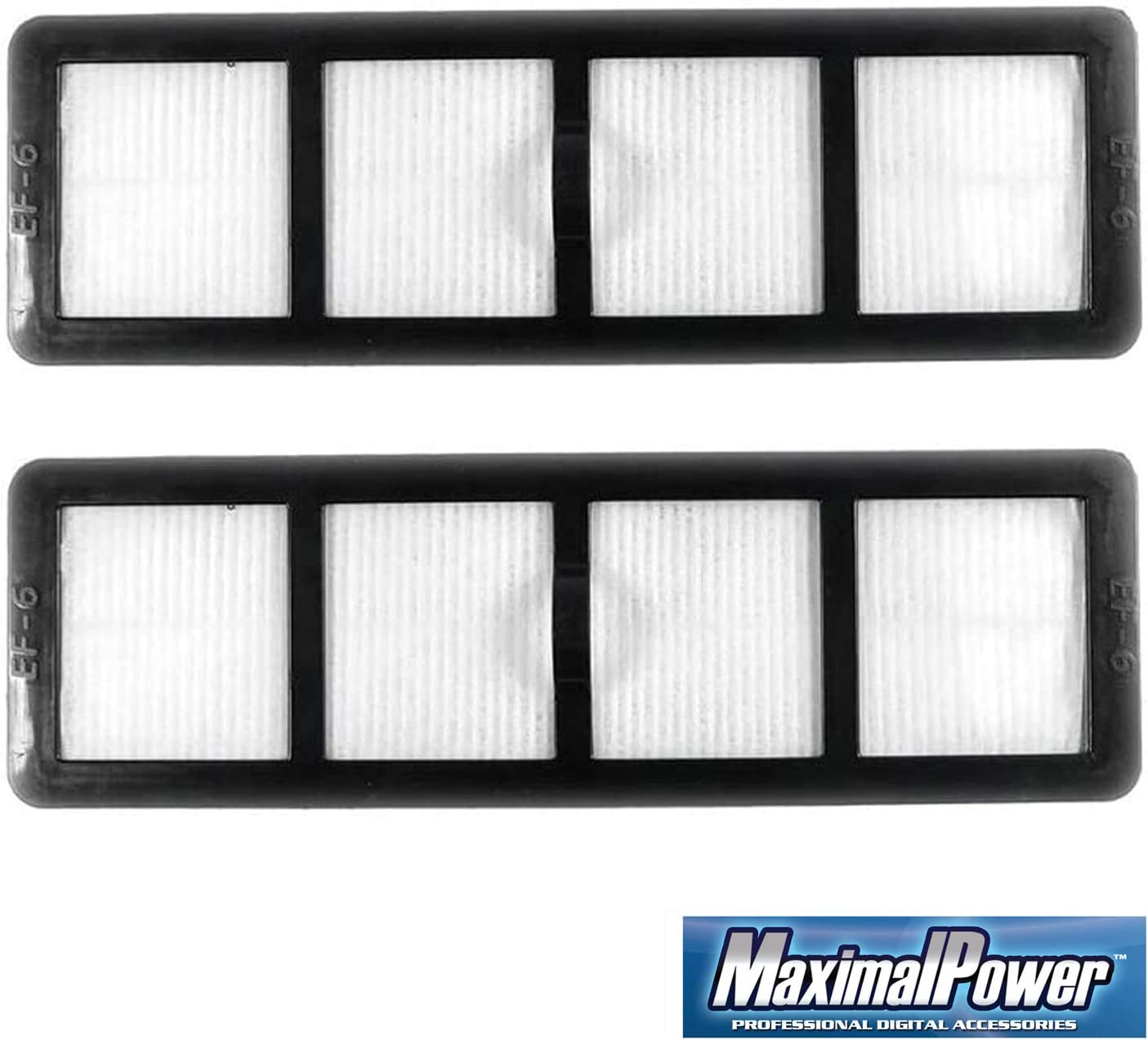 MaximalPower Replacement Vacuum Filter for Eureka Vac Part # EF6, EF-6, 69963-4, 83091-1, 83091, 69963 | Compatible with Eureka Vacuum Models AS1000, AS1001, SM1155A, AS1008AX, AS3012A (2 Pack)