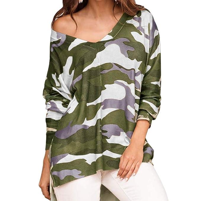 Longra Camisa de Camuflaje de Mujer de Moda con Cuello en v Manga Larga Suelta Blusa Casual Camisetas Mujer: Amazon.es: Ropa y accesorios