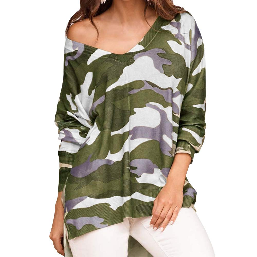 Women Shirts, Kulywon Fashion Women Camouflage T Shirt V-neck Long Sleeves Loose Casual Blouse at Amazon Womens Clothing store: