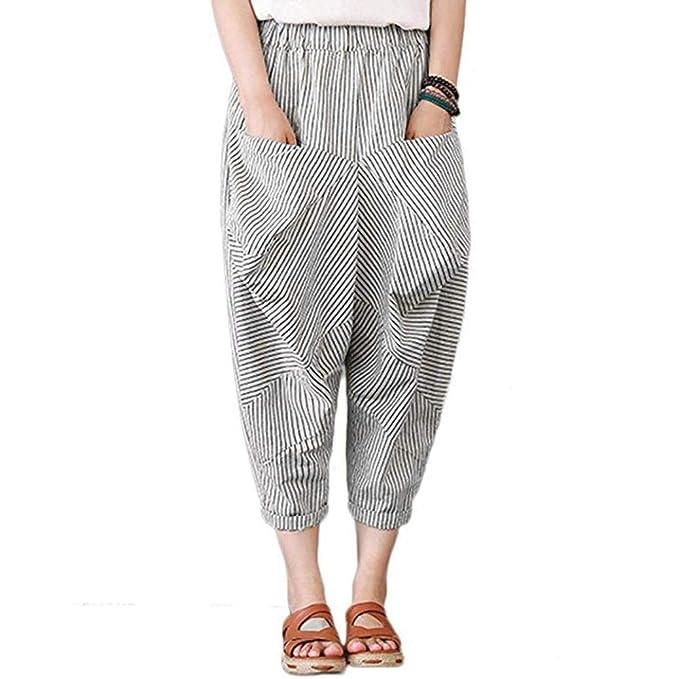 Pantalones Mujer, ASHOP Pata Ancha de Raya de Bolsillo ...
