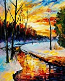 Ant-Tree 15.75''X19.69'' Winter River 5D DIY Diamond Painting Kit Full Square Rhinestone Embroidery Cross Stitch Arts Craft for Home Wall Decoration