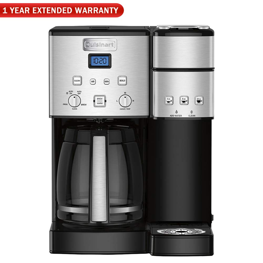Cuisinart SS-15 12-Cup Coffee Maker and Single-Serve Brewer, Stainless Steel with 1 Year Extended Warranty