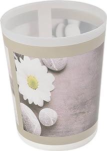 """EVIDECO 6500447 Printed Bath Trash Can Waste Bin Zen Garden 4.5-Liter-1.2-gals, 7.68"""" L x 7.68"""" W x 9.45 inchesH, Gray"""