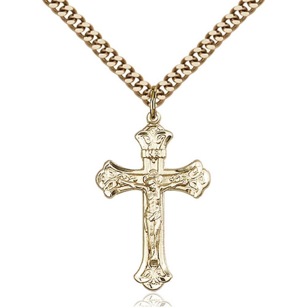 Gold Filled Crucifix Pendant 1 1/8 x 5/8 inches with Heavy Curb Chain Bliss Manufacturing 0622GF/24G